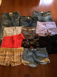 Variety of Shorts and Capris - sizes XS, S, 0, 2