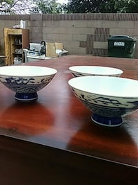 Chinese Bowls 3 white-and-blue porcelain bowls Pico Rivera, 90660