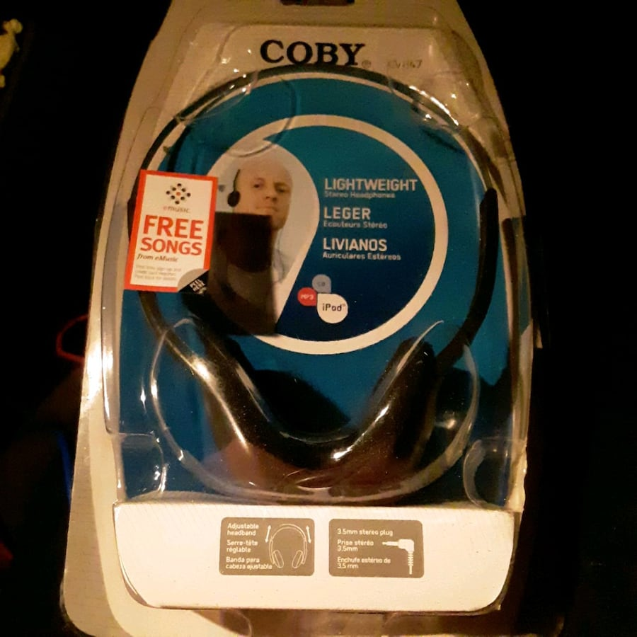 Coby lightweight stereo headphones.