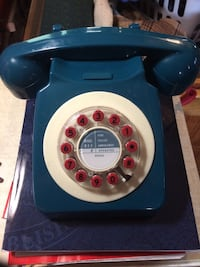 Retro Teal Telephone with Red Cord Dayton, 45410
