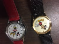 two round white and yellow Mickey and Minnie Mouse analog watches Griffith, 46319
