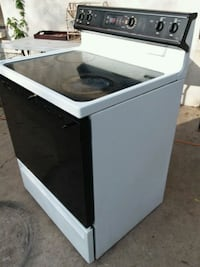 black and white induction range oven