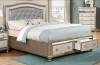 King frame bed with drawers metallic platinum  Norcross, 30093