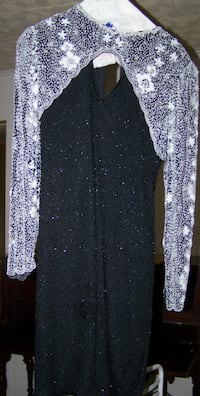 Black/Wht Beaded Dress by Lawrence Kazar Neptune City