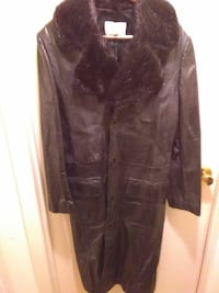 black leather button-up parka trench coat 43 km