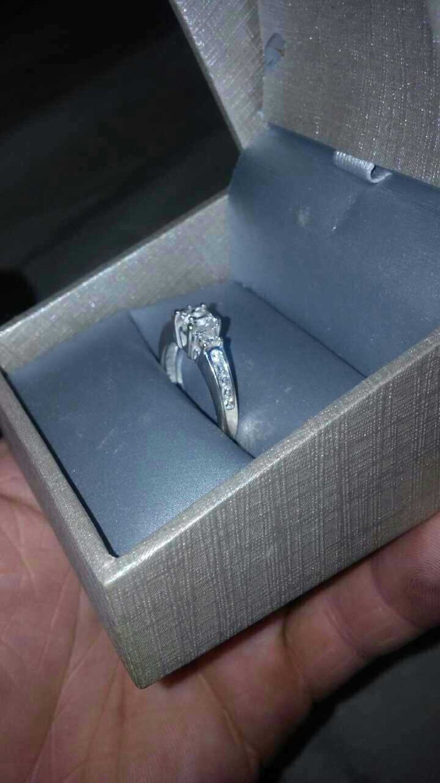 Ring Box Zales One Carat Princess Quad Diamond K White