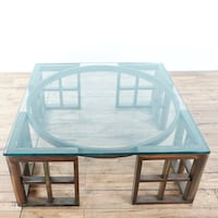 rectangular blue wooden table with four chairs dining set 2411 mi