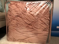 7 piece textured comforter set in Blush color