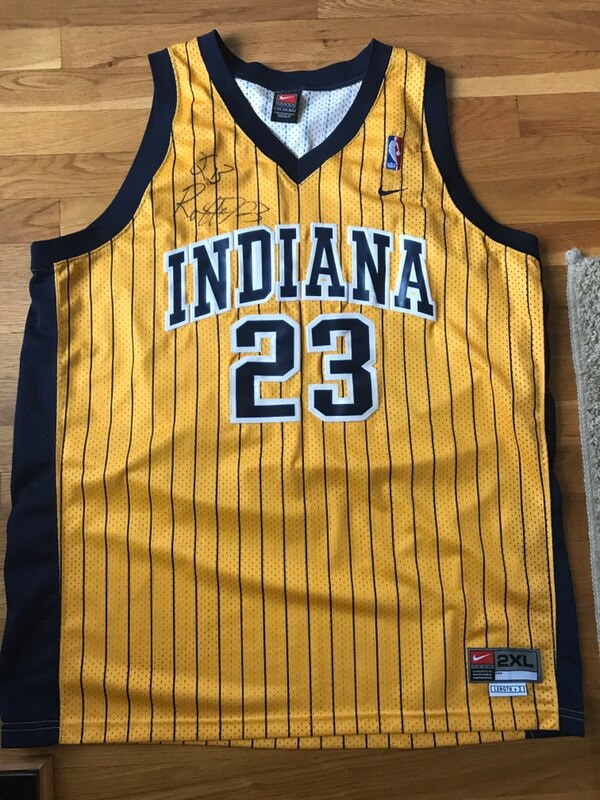 sports shoes a877f 7be73 Ron Artest signed Indiana Pacers Jersey