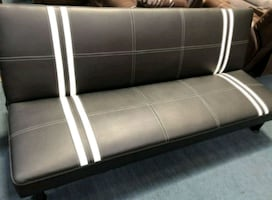 Brand New Black Faux Leather Futon Sofa Bed