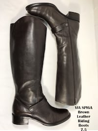 VIA SPIGA Women's Brown Leather Riding Boots 7.5 Lanham