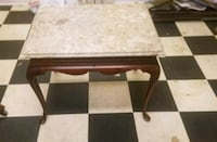 Wood End Table w/Marble Top Myrtle Beach, 29577