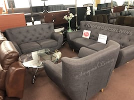 Brand New Grey Tufted Button 3 Pc Living Room Set Sofa Loveseat Chair