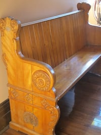 brown wooden headboard and footboard