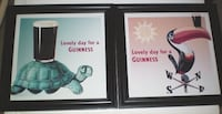 Guinness Retro Style Pub Prints Framed 16 x 16 Set of Two London