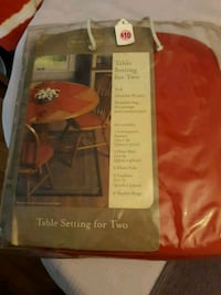 Red Table setting for 2.  Alexandria