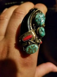 silver-colored and green gemstone ring Kitchener