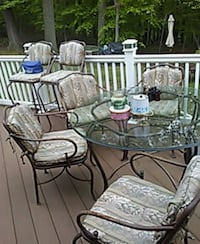 brown metal frame glass top table glass very thick expensive runs about 180.00 too 200.00 Downingtown, 19335