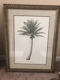 White and black flower painting with black wooden frame Port Saint Lucie, 34953