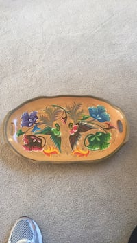 Hand painted wooden tray with handles Herndon, 20170