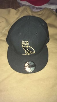 Size 8 black embroidered owl 59fifty snapback