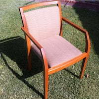 brown wooden framed gray padded armchair LOSANGELES