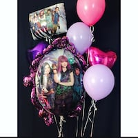 three purple and pink balloons