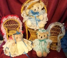 GIFT! SALE! Crafters delight! 3 Jointed Teddy Bears & Wicker Chairs