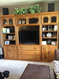 3pc Oak cabinet and Oak coffee table and End tables