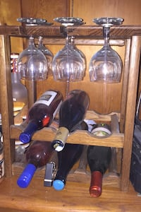Wine rack with glasses