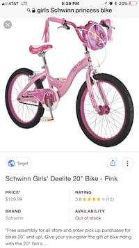 "GIRLS PRINCESS BICYCLE 20"" Port Saint Lucie, 34983"
