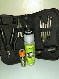 Battery, juice, coil built kit and smok tank ring