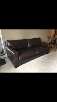 Crate and Barrel leather sofa and ottoman Calgary, T2W 4V1