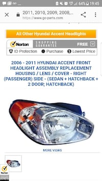 Hyundai Accent headlight Richmond Hill, L4C 1N6