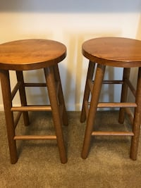 Two brown wooden bar stools Owings Mills, 21117