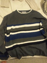 gray , white and blue sweater
