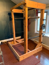 Wooden Squat rack and pull up bar
