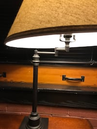 Oil rubbed bronze swing arm table lamp with warm off white shade St. Louis, 63103