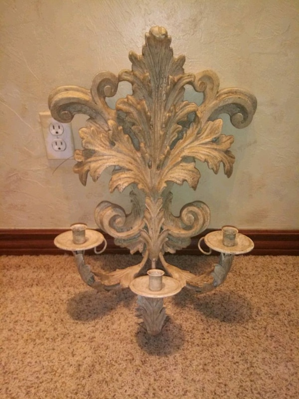 Very heavy plaster candle wall scone