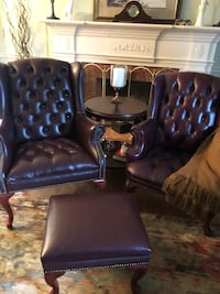 Two tufted brown leather sofa chairs. Two chairs+stool. Selling as is Toronto, M9A 3G2