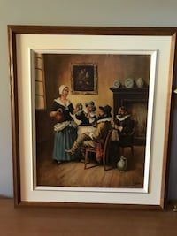 brown wooden framed painting of man and woman Beaconsfield, H9W 1K3