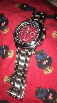 Red round chronograph watch with link bracelet Richmond, 23075