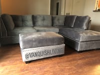 New Gray Velvet Sectional Sofa With Nailhead Trimming and Ottoman Houston, 77061