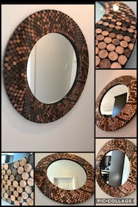 brown and white wooden framed mirror McAllen