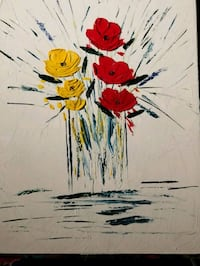 red, white, and blue flower painting Fresno, 93726