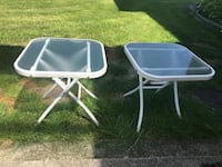 white metal framed glass top patio table with chairs Pitt Meadows, V3Y