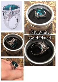 Brand new 18K white gold plated green stone ring Richmond Hill