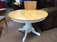 Dining Table with 1 (one) leaf / Round / Pedestal / Kitchen Table 60081