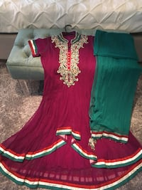 Purple and green combination Indian suit