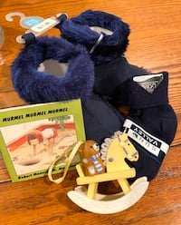 NEW baby booties, socks, book and decoration ($5 FOR ALL IF THIS)